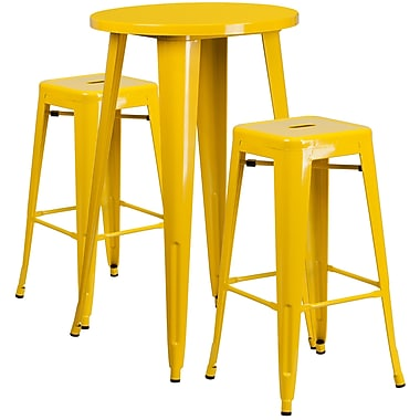 24'' Round Yellow Metal Indoor-Outdoor Bar Table Set with 2 Square Seat Backless Barstools (CH-51080BH-2-30SQST-YL-GG)