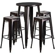 "Flash Furniture 24"" Round Antique Bar Table Set (CH-51080BH-4-30SQST-BQ-GG)"