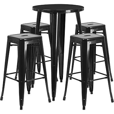 Ensemble de table bar ronde en métal noir avec 4 tabourets carrés, intérieur/extérieur, 24 po (CH-51080BH-4-30SQST-BK-GG)