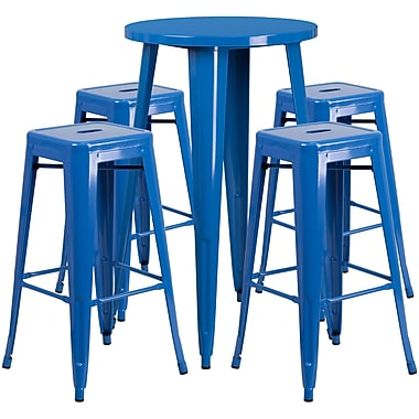24'' Round Blue Metal Indoor-Outdoor Bar Table Set with 4 Square Seat Backless Barstools (CH-51080BH-4-30SQST-BL-GG)