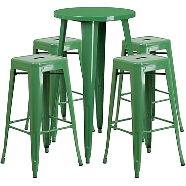 24'' Round Green Metal Indoor-Outdoor Bar Table Set with 4 Square Seat Backless Barstools (CH-51080BH-4-30SQST-GN-GG)