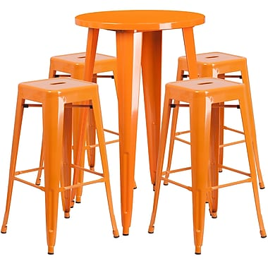 Ensemble de table bar ronde en métal orange avec 4 tabourets carrés, intérieur/extérieur, 24 po (CH-51080BH-4-30SQST-OR-GG)