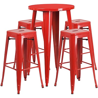 24'' Round Red Metal Indoor-Outdoor Bar Table Set with 4 Square Seat Backless Barstools (CH-51080BH-4-30SQST-RED-GG)