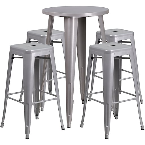 24'' Round Silver Metal Indoor-Outdoor Bar Table Set with 4 Square Seat Backless Barstools (CH-51080BH-4-30SQST-SIL-GG)