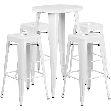Ensemble de table bar ronde en métal blanc avec 4 tabourets carrés, intérieur/extérieur, 24 po (CH-51080BH-4-30SQST-WH-GG)