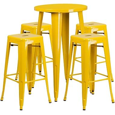 Ensemble de table bar ronde en métal jaune avec 4 tabourets carrés, intérieur/extérieur, 24 po (CH-51080BH-4-30SQST-YL-GG)