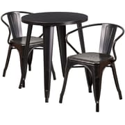 24'' Round Black-Antique Gold Metal Indoor-Outdoor Table Set with 2 Arm Chairs (CH-51080TH-2-18ARM-BQ-GG)