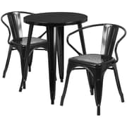 24'' Round Black Metal Indoor-Outdoor Table Set with 2 Arm Chairs (CH-51080TH-2-18ARM-BK-GG)