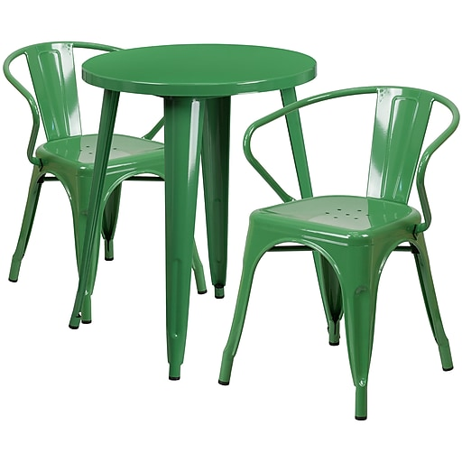 24'' Round Green Metal Indoor-Outdoor Table Set with 2 Arm Chairs (CH-51080TH-2-18ARM-GN-GG)