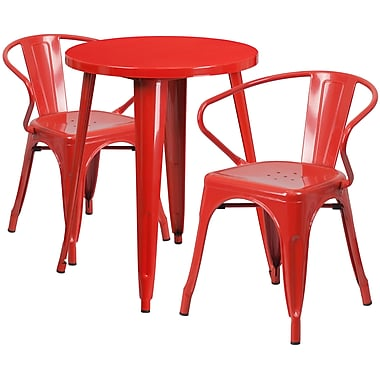 24'' Round Red Metal Indoor-Outdoor Table Set with 2 Arm Chairs (CH-51080TH-2-18ARM-RED-GG)