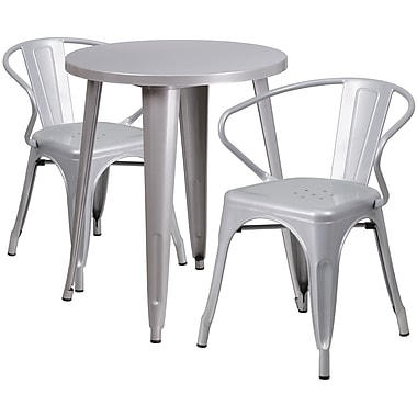24'' Round Silver Metal Indoor-Outdoor Table Set with 2 Arm Chairs (CH-51080TH-2-18ARM-SIL-GG)
