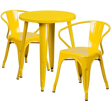 24'' Round Yellow Metal Indoor-Outdoor Table Set with 2 Arm Chairs (CH-51080TH-2-18ARM-YL-GG)