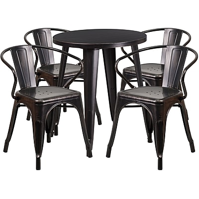 24'' Round Black-Antique Gold Metal Indoor-Outdoor Table Set with 4 Arm Chairs (CH-51080TH-4-18ARM-BQ-GG)