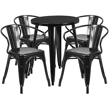 24'' Round Black Metal Indoor-Outdoor Table Set with 4 Arm Chairs (CH-51080TH-4-18ARM-BK-GG)