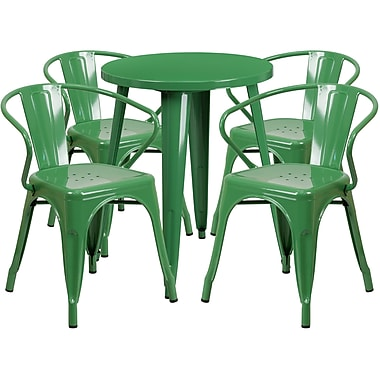 24'' Round Green Metal Indoor-Outdoor Table Set with 4 Arm Chairs (CH-51080TH-4-18ARM-GN-GG)