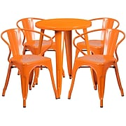 24'' Round Orange Metal Indoor-Outdoor Table Set with 4 Arm Chairs (CH-51080TH-4-18ARM-OR-GG)