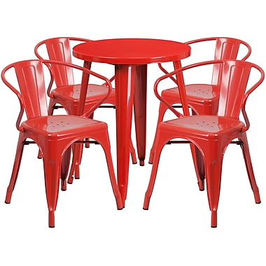 24'' Round Red Metal Indoor-Outdoor Table Set with 4 Arm Chairs (CH-51080TH-4-18ARM-RED-GG)
