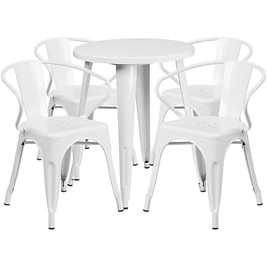 24'' Round White Metal Indoor-Outdoor Table Set with 4 Arm Chairs (CH-51080TH-4-18ARM-WH-GG)