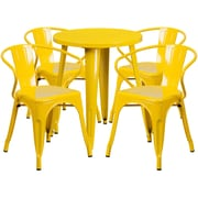 24'' Round Yellow Metal Indoor-Outdoor Table Set with 4 Arm Chairs (CH-51080TH-4-18ARM-YL-GG)