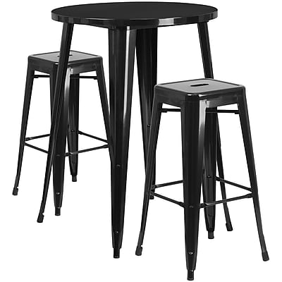 30'' Round Black Metal Indoor-Outdoor Bar Table Set with 2 Square Seat Backless Barstools (CH-51090BH-2-30SQST-BK-GG)