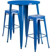 30'' Round Blue Metal Indoor-Outdoor Bar Table Set with 2 Square Seat Backless Barstools (CH-51090BH-2-30SQST-BL-GG)
