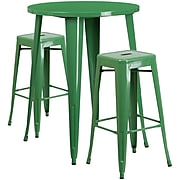 30'' Round Green Metal Indoor-Outdoor Bar Table Set with 2 Square Seat Backless Barstools (CH-51090BH-2-30SQST-GN-GG)