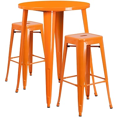 30'' Round Orange Metal Indoor-Outdoor Bar Table Set with 2 Square Seat Backless Barstools (CH-51090BH-2-30SQST-OR-GG)