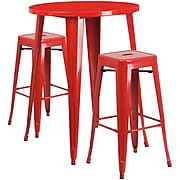 30'' Round Red Metal Indoor-Outdoor Bar Table Set with 2 Square Seat Backless Barstools [CH-51090BH-2-30SQST-RED-GG]