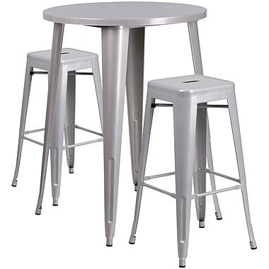 Ensemble de table de bar ronde en métal argenté avec 2 tabourets carrés, intérieur/extérieur, 30 po (CH-51090BH-2-30SQST-SIL-GG)