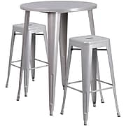 30'' Round Silver Metal Indoor-Outdoor Bar Table Set with 2 Square Seat Backless Barstools (CH-51090BH-2-30SQST-SIL-GG)