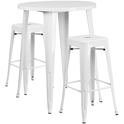 30'' Round White Metal Indoor-Outdoor Bar Table Set with 2 Square Seat Backless Barstools (CH-51090BH-2-30SQST-WH-GG)