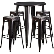 "Flash Furniture 30"" Round Antique Bar Table Set (CH-51090BH-4-30SQST-BQ-GG)"