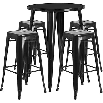 30'' Round Black Metal Indoor-Outdoor Bar Table Set with 4 Square Seat Backless Barstools (CH-51090BH-4-30SQST-BK-GG)