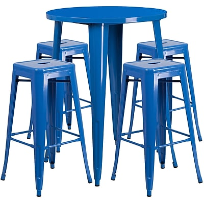 30'' Round Blue Metal Indoor-Outdoor Bar Table Set with 4 Square Seat Backless Barstools (CH-51090BH-4-30SQST-BL-GG)