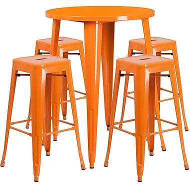 Ensemble de table de bar ronde en métal orange avec 4 tabourets carrés, intérieur/extérieur, 30 po (CH-51090BH-4-30SQST-OR-GG)
