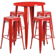 30'' Round Red Metal Indoor-Outdoor Bar Table Set with 4 Square Seat Backless Barstools (CH-51090BH-4-30SQST-RED-GG)