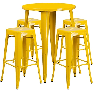 30'' Round Yellow Metal Indoor-Outdoor Bar Table Set with 4 Square Seat Backless Barstools (CH-51090BH-4-30SQST-YL-GG)