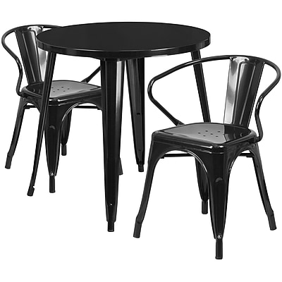 30'' Round Black Metal Indoor-Outdoor Table Set with 2 Arm Chairs (CH-51090TH-2-18ARM-BK-GG)