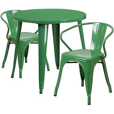 Ensemble avec table ronde en métal vert et 2 sièges à bras ajourés, intérieur/extérieur, 30 po (CH-51090TH-2-18ARM-GN-GG)