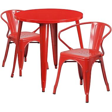 Ensemble avec table ronde en métal rouge et 2 sièges à bras ajourés, intérieur/extérieur, 30 po (CH-51090TH-2-18ARM-RED-GG)
