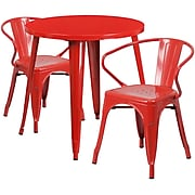 30'' Round Red Metal Indoor-Outdoor Table Set with 2 Arm Chairs [CH-51090TH-2-18ARM-RED-GG]