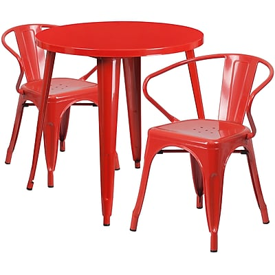 30'' Round Red Metal Indoor-Outdoor Table Set with 2 Arm Chairs (CH-51090TH-2-18ARM-RED-GG)