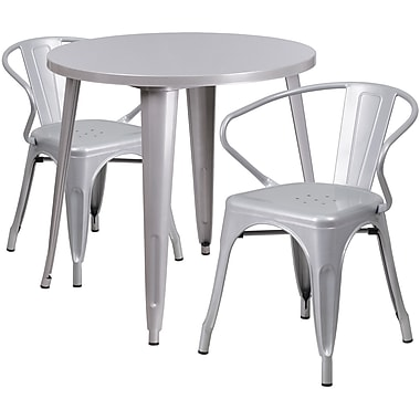 30'' Round Silver Metal Indoor-Outdoor Table Set with 2 Arm Chairs (CH-51090TH-2-18ARM-SIL-GG)