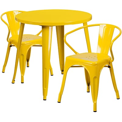 30'' Round Yellow Metal Indoor-Outdoor Table Set with 2 Arm Chairs (CH-51090TH-2-18ARM-YL-GG)