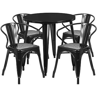 Ensemble avec table ronde en métal de 30 po et 4 sièges à accoudoirs, intérieur/extérieur, noir (CH-51090TH-4-18ARM-BK-GG)
