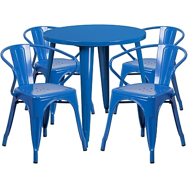 30'' Round Blue Metal Indoor-Outdoor Table Set with 4 Arm Chairs (CH-51090TH-4-18ARM-BL-GG)