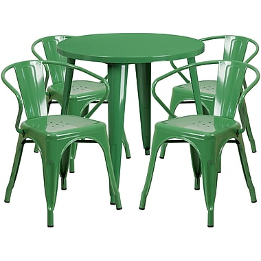 30'' Round Green Metal Indoor-Outdoor Table Set with 4 Arm Chairs (CH-51090TH-4-18ARM-GN-GG)