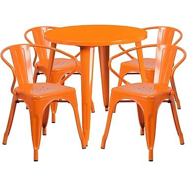 Ensemble avec table ronde en métal de 30 po et 4 sièges à accoudoirs, intérieur/extérieur, orange (CH-51090TH-4-18ARM-OR-GG)