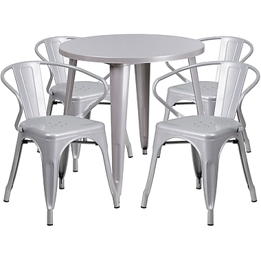 30'' Round Silver Metal Indoor-Outdoor Table Set with 4 Arm Chairs (CH-51090TH-4-18ARM-SIL-GG)