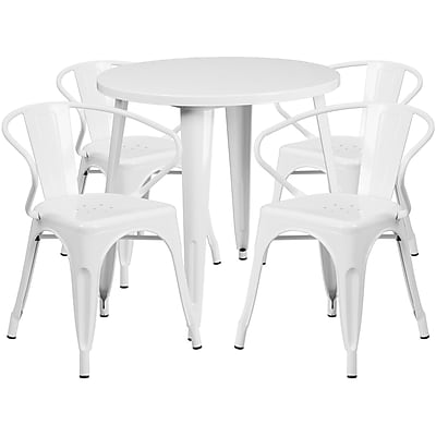 30'' Round White Metal Indoor-Outdoor Table Set with 4 Arm Chairs (CH-51090TH-4-18ARM-WH-GG)